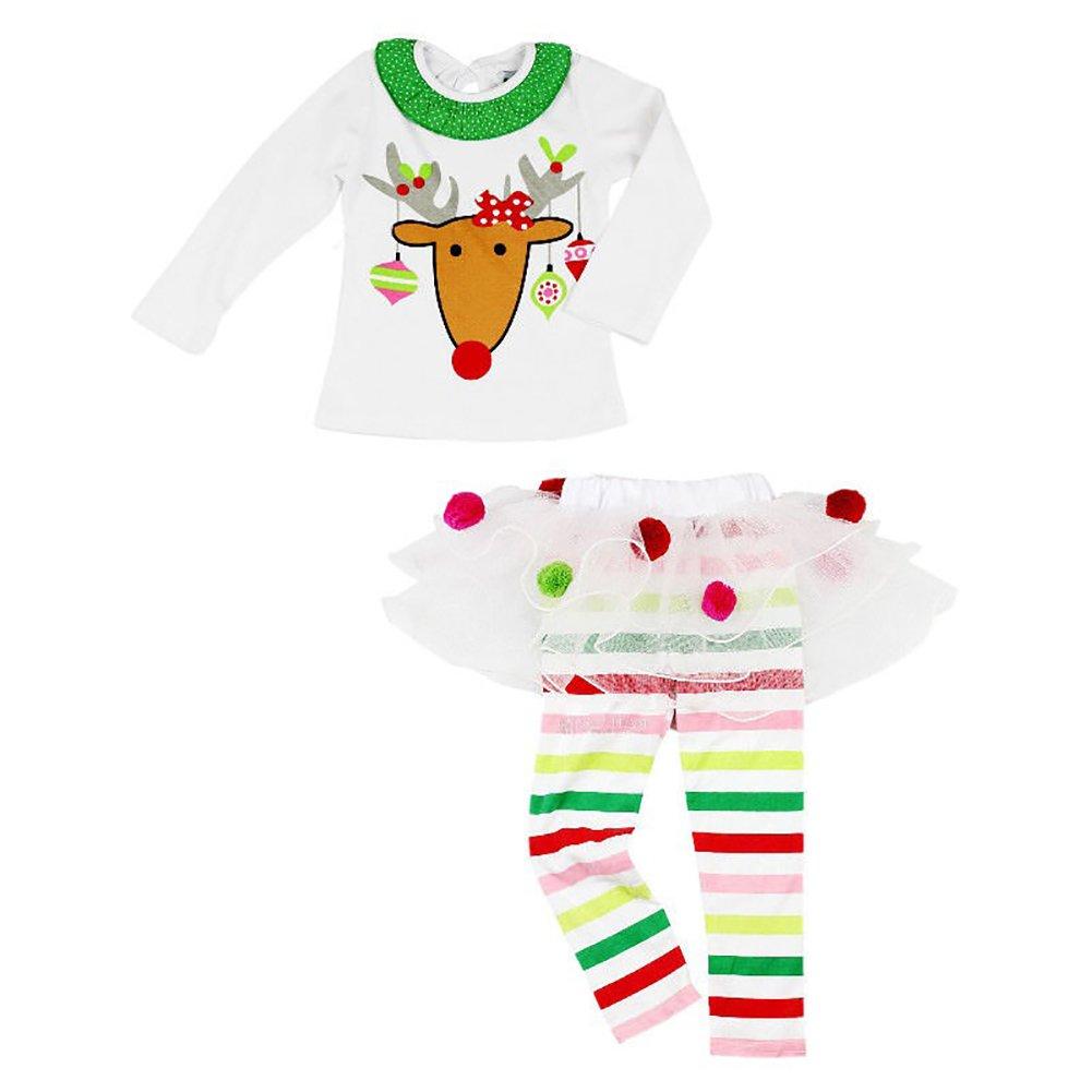 Pantalones Largos con Diadema//Babero Ropa Invierno de Algod/ón y Tul Baby Girl Traje Ni/ña Navidad Conjunto Navide/ño para Beb/é Reci/én Nacida con Vestido//Camiseta de Manga Larga 0-6 A/ños