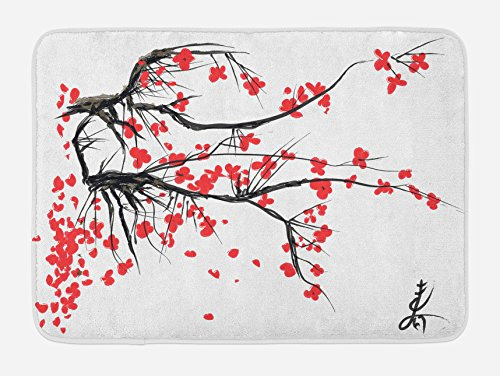 Ambesonne Nature Bath Mat, Sakura Blossom Japanese Cherry Tree Garden Summertime Vintage Cultural Print, Plush Bathroom Decor Mat with Non Slip Backing, 29.5 W X 17.5 L Inches, Grey and Vermilion