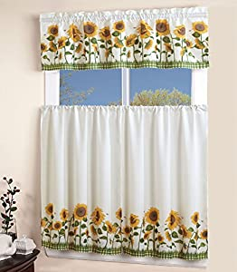 Elegant Window Treatment Sunflower 3piece Kitchen Curtain Lovely Tier And Valance