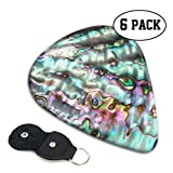 Xzyauza Abalone Shell Celluloid Guitar Picks Premium Picks 6 Pack for Guitar,Mandolin,and Bass 0.46mm, 0.71mm, 0.96mm Optional with PU Leather Pick Holder