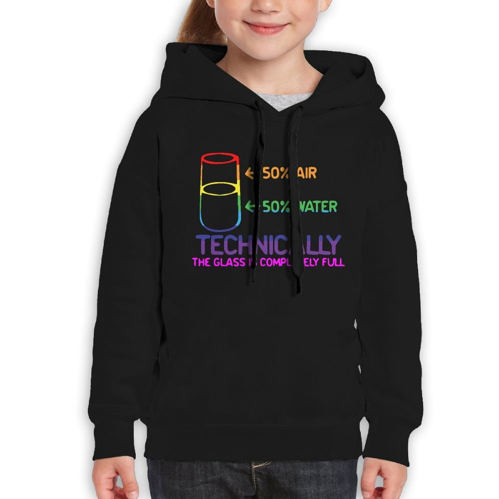 Ijalo The Glass Is Completely Science Sarcasm Funny Cool Hoodie Youth Pullover Hooded Sweatshirt M