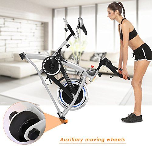 Indoor Exercise Cycling Bike Fitness Spin Bike Magnetic Belt Drive Bike with 40lbs Flywheel and LCD Screen for Home Gym Cardio Training (US STOCK) (Style1-Silver)