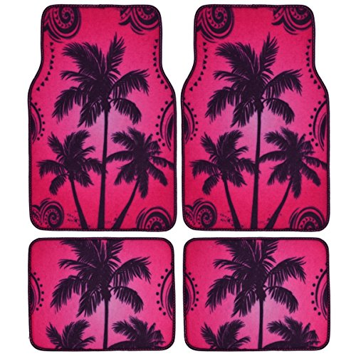 BDK Palm Tree California Carpet Floor Mats for Car SUV - 4 Piece Set, Pink, Licensed Prodcuts, Secure Backing