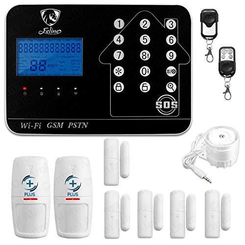 Alarma Plus Triple Tecnología WiFi gsm Telefonica Seguridad para casa o Negocio (7 SENSORES Plus, Negra)