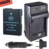 BM Premium ENEL14, EN-EL14, EN-EL14A Battery and Charger Kit for Nikon D3400, D5600, D3100, D3200, D3300, D5100, D5200, D5300, D5500, DF, Coolpix P7000, P7100, P7700, P7800 Digital Cameras
