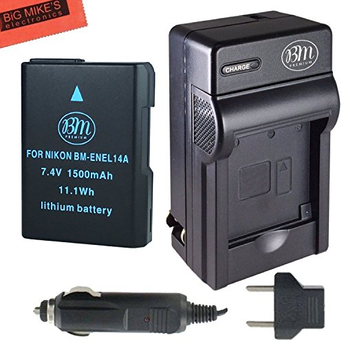 BM Premium EN-EL14A, EN-EL14 Battery and Charger for Nikon D3100, D3200, D3300, D3400, D3500, D5100, D5200, D5300, D5500, D5600, DF, Coolpix P7000, P7100, P7700 Digital SLR Cameras by BM Premium