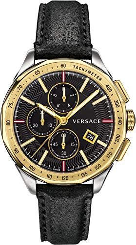 Versace Men's 'Glaze' Quartz Gold-Tone and Leather Watch, Color:Black (Model: VEBJ00218)