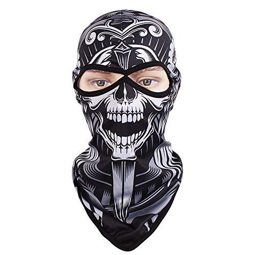 X Hot Popcorn Balaclava Skull Full Face Mask Thin Breathing Windproof UV Protective Hat for Women and Men (Smiley face Skull)