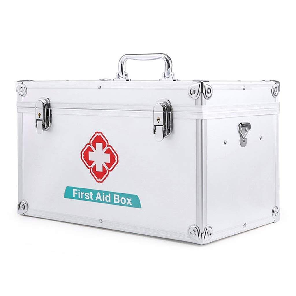 Djyyh 白い十字の金属の医学袋の収納箱と赤いハンドルの取り外し可能な内部の皿が付いている救急箱 (サイズ さいず : 14inch) 14inch  B07RHBMLJL