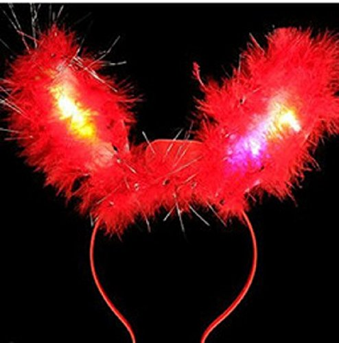 LED Light Up Flashing Fluffy Bunny Ears - Various Styles (Red) -