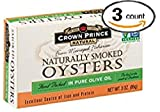 Crown Prince Natural Smoked Oysters in Pure Olive Oil, NET WT.3 OZ (85 g) - Pack of 3