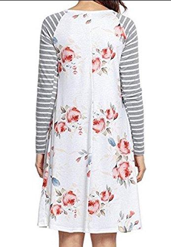 L'impression De Fleur De Fines Rayures Femmes Coolred Wid Robe À Manches Longues Haut Blanc