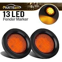 "Partsam 2.5"" Amber LED Clearance/Side Marker turn Tail signal Lights w Grommet Gasket,2-1/2"" Round LED Trailer Clearance/Side Marker Lights, 13 Diodes, Amber trailer lights"
