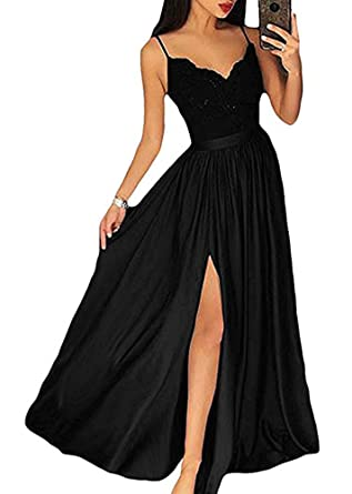 66a0aee7d5bcbf Womens Sexy Split V Neck Prom Dresses 2018 Lace Long Formal Evening Dress  Black .