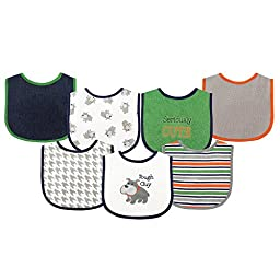 Luvable Friends 7 Piece Drooler Bibs with Waterproof Backing, Tough Guy