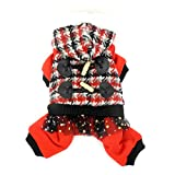 ZUNEA Houndstooth Hooded Winter Jumpsuit for Small Dog Fleece Lined Warm Pet Puppy Cat Coat Jacket Snowsuit Yorkie Chihuahua Clothes Apparel Red L
