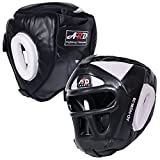 ARD Leather Art MMA Boxing Protector head guard UFC Wrestling helmet head gear (white, Small)