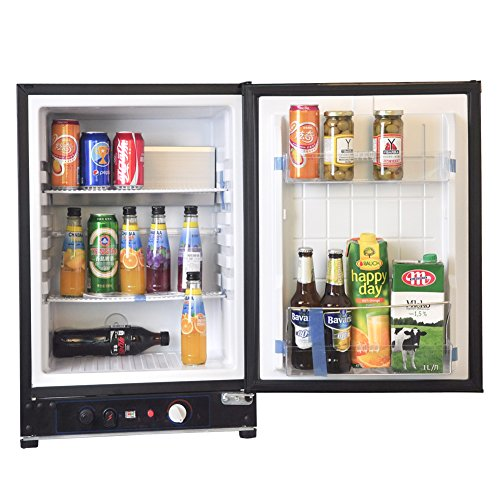 SMETA Propane Gas Refrigerator for Dorm 110V Absorption Hotel Mini Fridge 12V Cascadia Fridge RV Bar Cooler,2.1 Cu Feet,Black