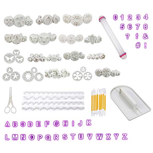Cadrim 109pcs Fondant Sugarcraft Cake Decorating Tools Fondant Cake Cutter Sugarcraft Icing Decoration Kit Flower Modelling Tools