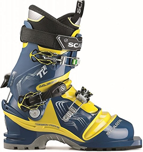 (Scarpa Men's T2 Eco Ski Boots True Blue / Acid Green 31)