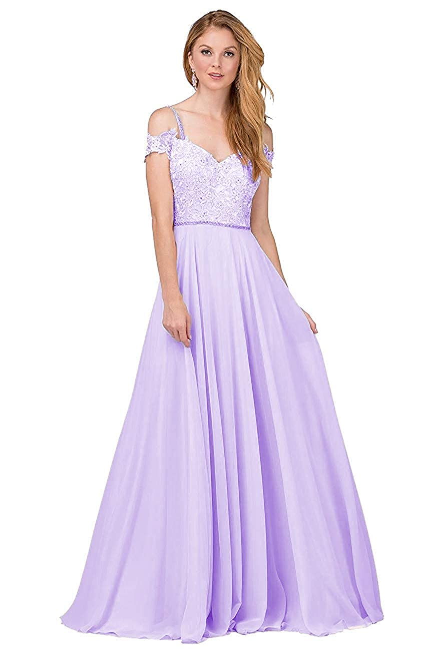 KKarine Womens A-Line Chiffon Off The Shoulder Ruched Lace Applique Prom Dresses Long Formal Evening Gown
