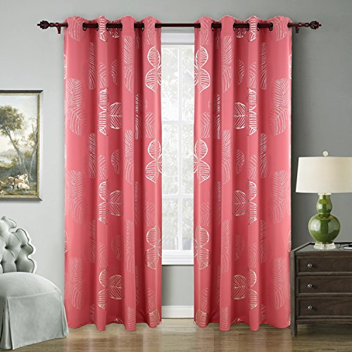 Deconovo Pink Blackout Curtains Goat Willow Leaf Printed Kids Room Darkening Curtains For Bedroom 52 W x 84 L A Set Of Two