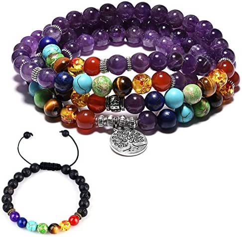 Cat Eye Jewels 6mm 8mm Agate 108 Prayer Mala Beads 7 Chakra Long Beaded Necklace Multilayer Yoga Meditation Lava Rock Bracelet for Men Women