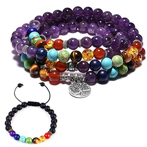 Cat Eye Jewels 6mm 8mm 108 Prayer Mala Beads 7 Chakra Long Beaded Necklace Lava Rock Bracelet Men Women