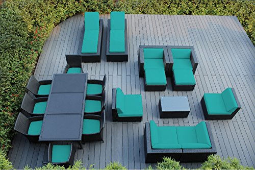 Ohana 20-Piece Outdoor Patio Furniture Sofa, Dining and Chaise Lounge Set, Black Wicker with Sunbrella Aruba Cushions - Free Patio Cover