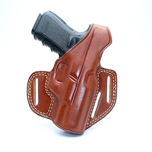 Premium Leather OWB Three Slot Pancake Concealed Carry Holster with Thumb Break for Kahr K9/P40/CW40/P45/CW45, Right Hand Draw, Brown Color #1112#