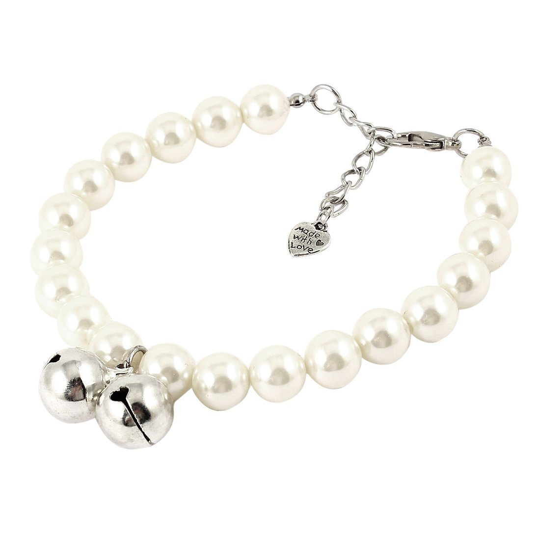 Visork Pet Imitation Pearl Necklace With Double Bell Round Beads Collar With Lobster Clasp Pet Bells Accessories For Small Pet Cat Kitten White