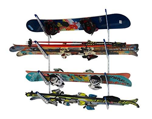 StoreYourBoard Horizontal Multi Ski Wall Rack | Home and Garage Skiing Storage Mount