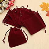 10Pcs Dark Red Drawstring Bags Wedding Party Candy Favor Gift Jewellery Pouches SINGLE ITEM