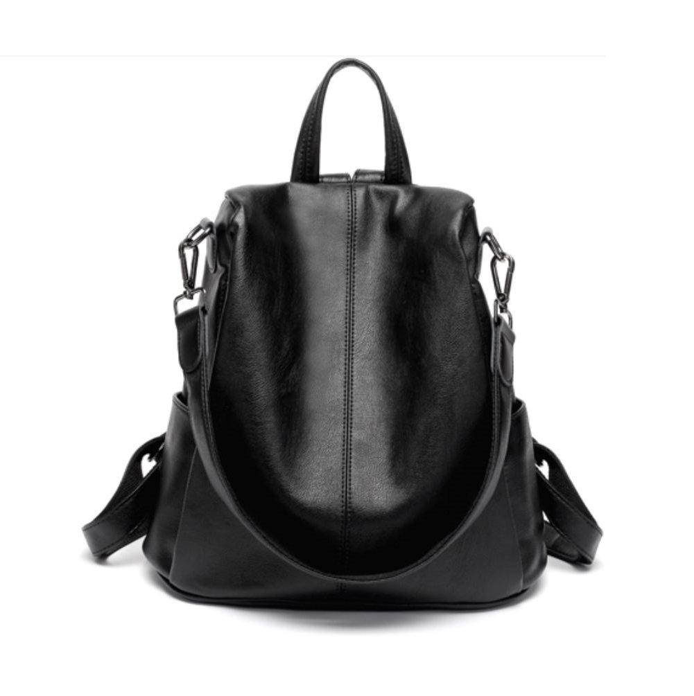 JeHouze Fashion Women Handbag Genuine Leather Backpack Casual Shoulder Bag Anti-theft purse(Black)