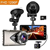 Tvird Dash Cam 1296P Full HD Car DVR Vehicle Camera Recorder,Night Vision,Wide Angle Lens,Motion Detection,WDR,G-Sensor,16G SD Card Included
