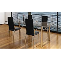 SKB Family 4 pcs Artificial Leather Iron Black Dining Chair Modern Set Chairs