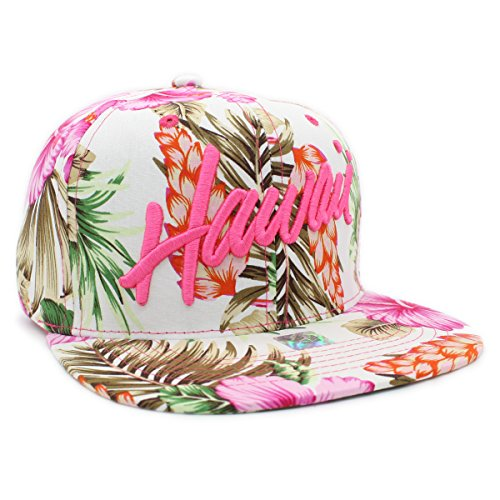 - Embroidered ALOHA, HAWAII Tropical Hawaiian Print Snapback Cap (HAWAII-PINK)