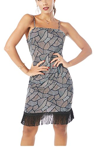 1 Jaycargogo Dresses Strap Slim Bodycon Sexy Fit Print Womens Geometric Spaghetti wwvRqB6