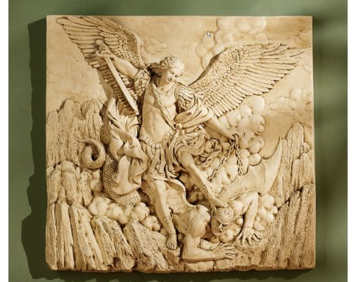 Winged Classic Archangel St. Michael Sculptural Wall Frieze Decor Christian Art After the 1636 Painting By Guido Reni by Artistic Solutions