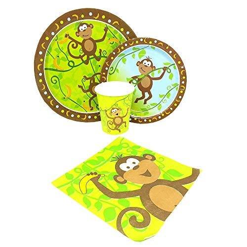 Blue Orchards Monkey Party Standard Party Packs (65+ Pieces 16 Guests!), Jungle Party Tableware, 1st Birthday Supplies, Monkey Baby Shower Decorations