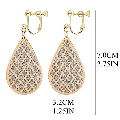 Gold Plated Filigree Clip on Dangle Earrings for Girls Frosted Teardrop Leaf Layered Drop Jewelry