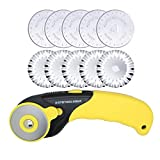 AUTOTOOLHOME 45mm Rotary Cutter 10pc Pinking Lace Circular Refill Blades for OLFA Fabric Paper Cutting Knife Patchwork Leather Sewing Tool
