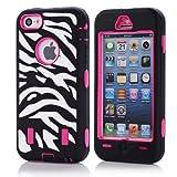 Bayke® iPhone 5C Fashion Zebra Combo Print Designer Hybrid Defender Case Silicone Black / Hot Pink