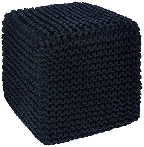 Redearth Hand Knitted Cotton Ottoman Cable Cube Pouf -Square footrest Poof Stool Accent pouffe seat for Living Room, Bedroom, Nursery, Kids Room, Patio, Lounge, gym100% Cotton (16x16x16; Navy) (Pouf Cube)