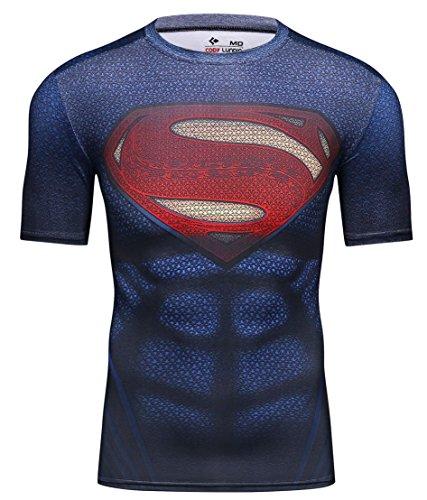 Red Plume Men's Film Super-Hero Series Compression Sports Shirt Skin Running Short Sleeve Tee (L, Super B) (L'halloween Film)