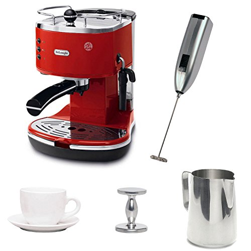DeLonghi ECO310R Espresso Maker with Espresso Tamper, Frothing Pitcher, Milk Frother, and Cup and Saucer