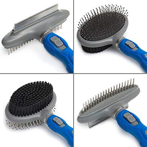 Friends Forever Dual Side 2 in 1 Pet Grooming Combo - Deshedding, Pin Bristle Dog Brush + Undercoat Rake & Comb Dogs Cat, Pet Supplies Tool Kit (Set Comb Dog)