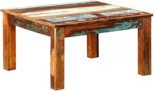 vidaXL Coffee Table Square Reclaimed Vintage Furniture Modern Living Room