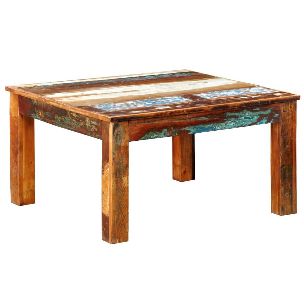 - VidaXL Rustic Square Coffee Table Vintage Reclaimed Wood Furniture