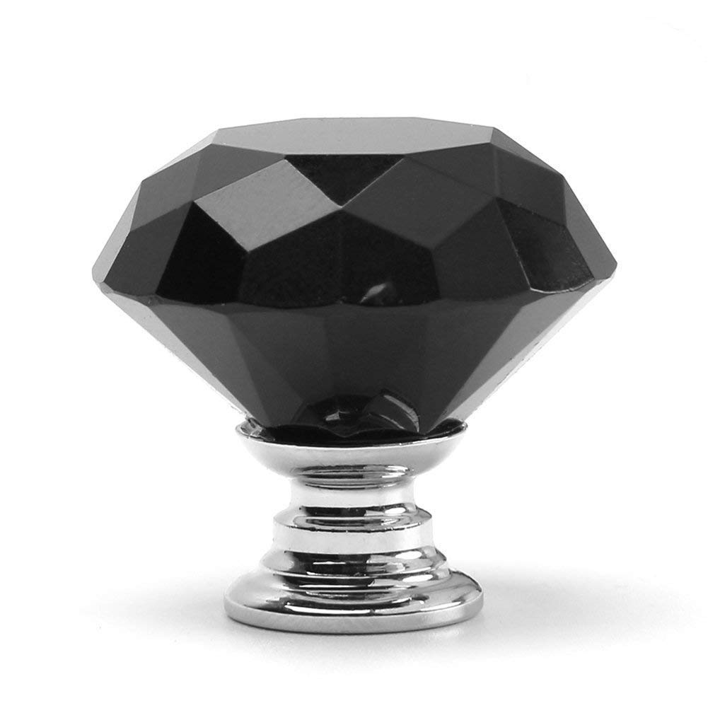 Jaxbo Diamond Shape Crystal Glass Cabinet Cupboard Drawer Dresser Hardware Knobs Pulls Handles for Kitchen and Bathroom Cabinets Glass Pull Handles for Home, 10PCS (Black)